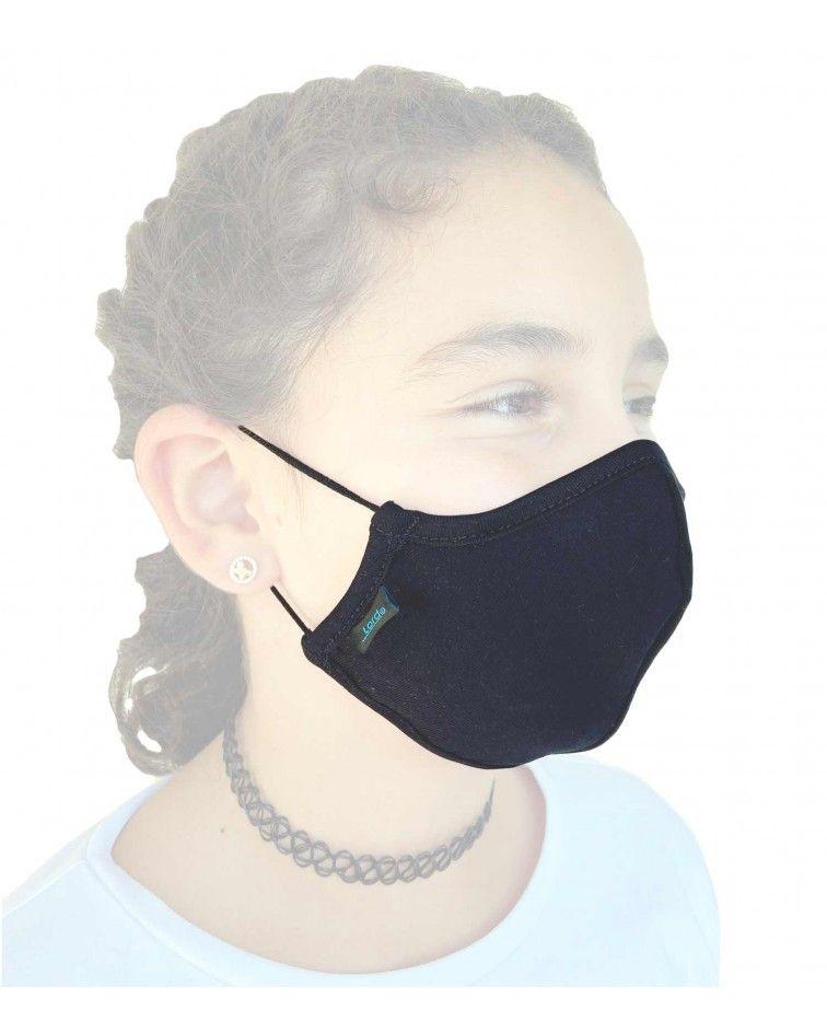 Παιδική Μάσκα με λάστιχο, βαμβακερή, μαύρη