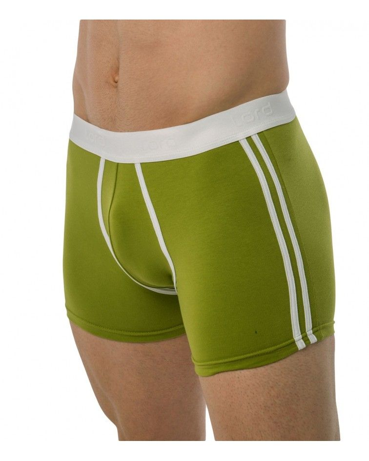 Boxer, white straps, green