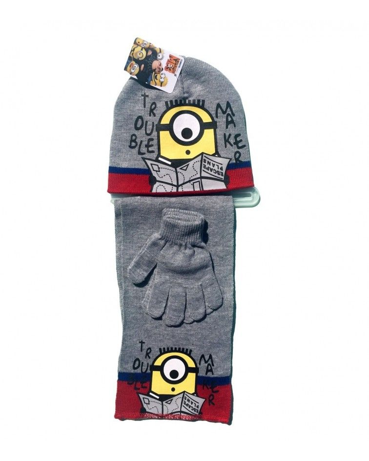 Minions Set, hat, pair of gloves and a scarf