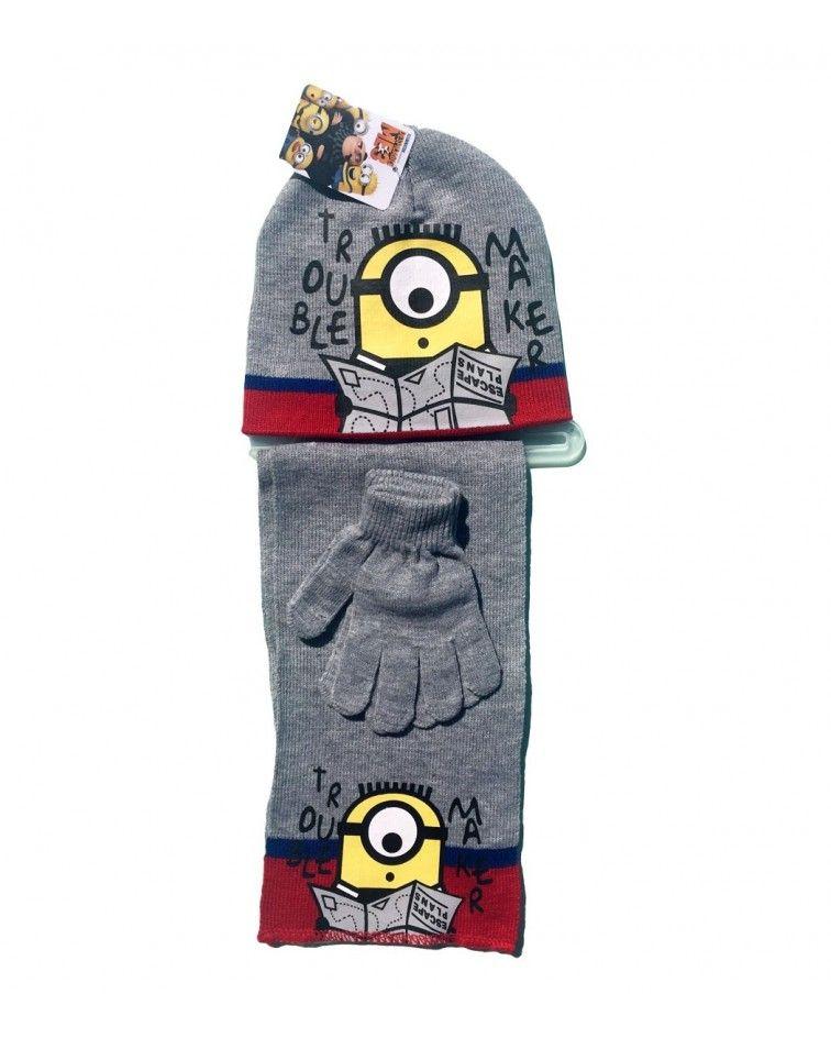 Minions ΣΕΤ Σκουφί με γάντια και κασκόλ, γκρι