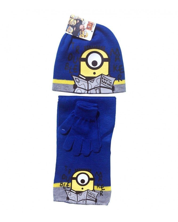 Minions ΣΕΤ Σκουφί με γάντια και κασκόλ, μπλε