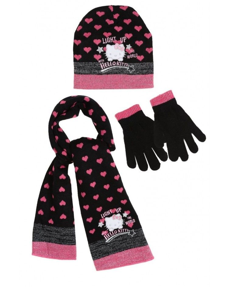 Hello Kitty ΣΕΤ σκουφάκι γάντια κασκόλ, μαύρο