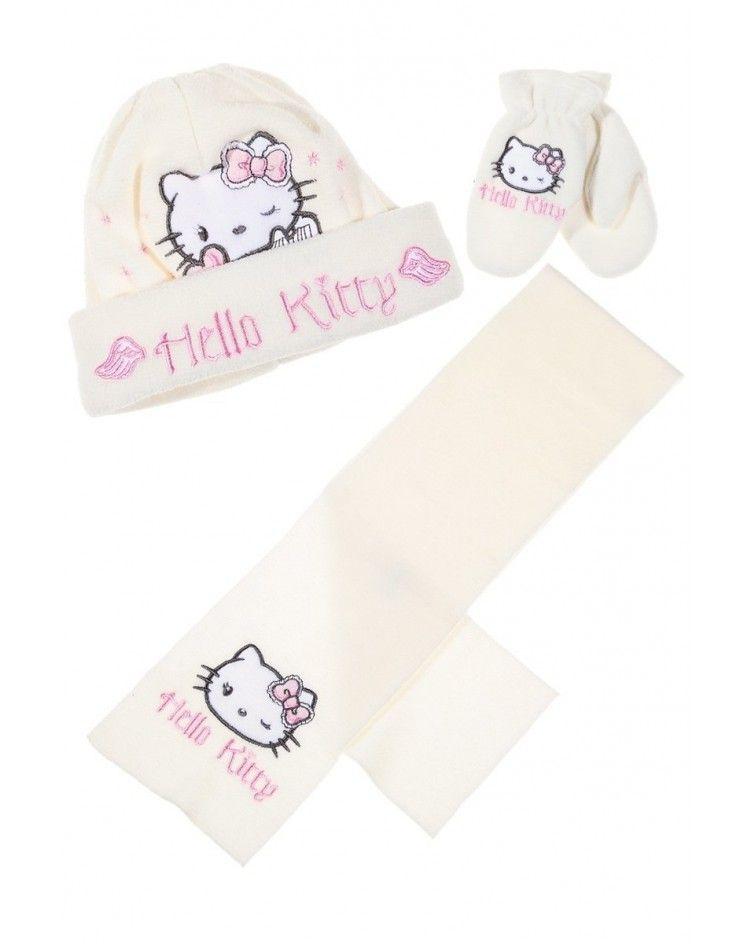 Hello Kitty ΣΕΤ σκουφάκι γάντια κασκόλ, κρεμ