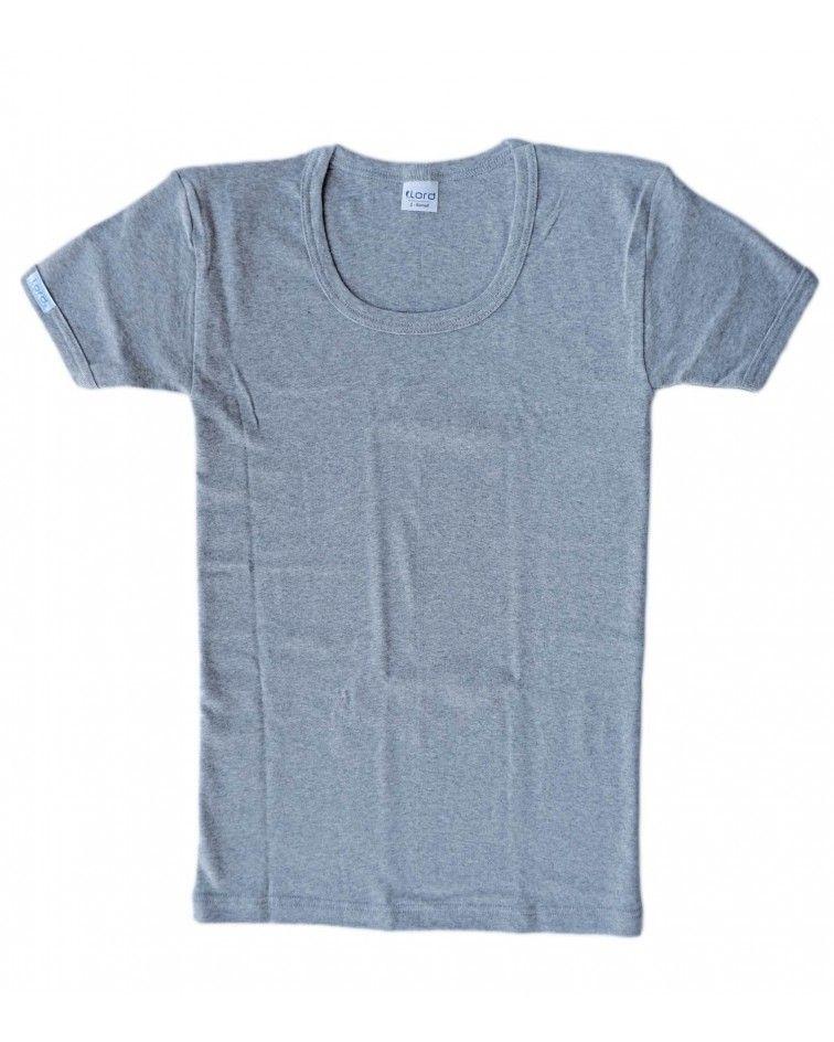 T-Shirt, open neck, grey